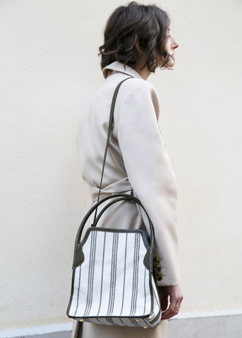Khaki Stripe Canvas Hazel Bag by Eudon Choi Bag Eudon Choi