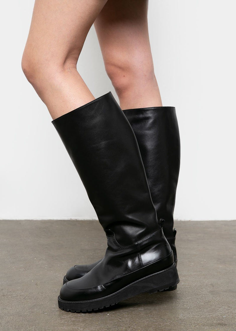 Knee High Chunky Boots in Black shoes L'art