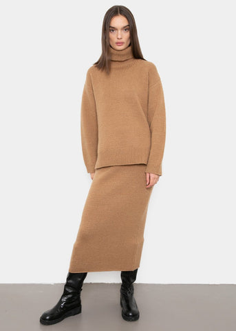 Knit Midi Tube Skirt in Camel Skirt Mainstay
