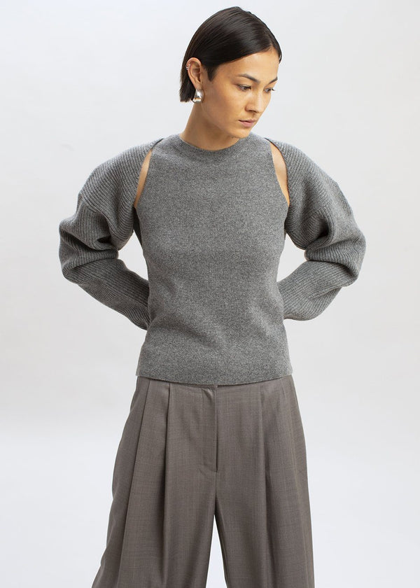 Knit Shrug Set in Storm Grey Sweater The Frankie Shop