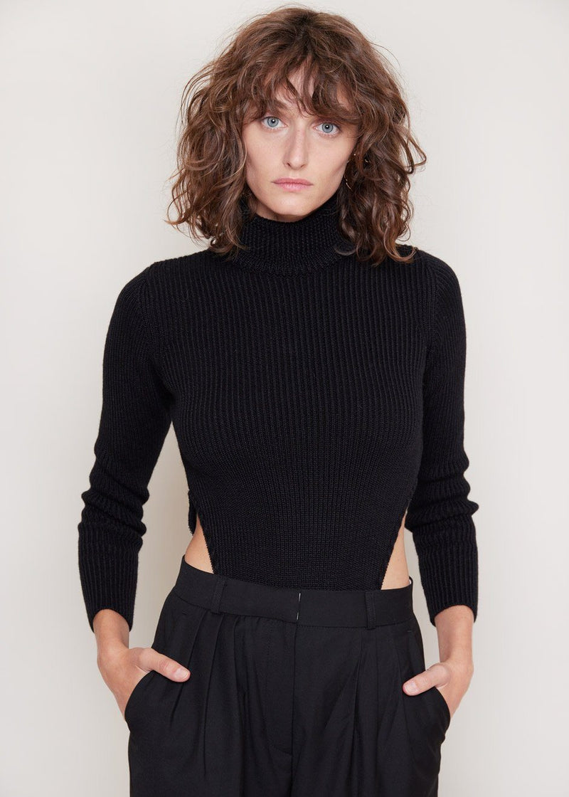 Knitted Turtleneck Bodysuit by Bevza in Black bodysuit bevza