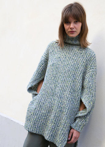Kotatsu Turtleneck Speckled Sweater in Pale Green by Rus the Brand Sweater Rus the Brand