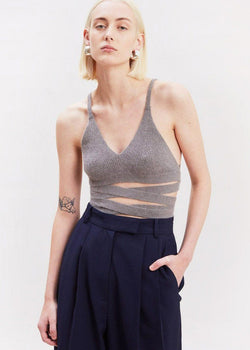 Lace-Up Knit Bralette in Mink Top EBONY EYES