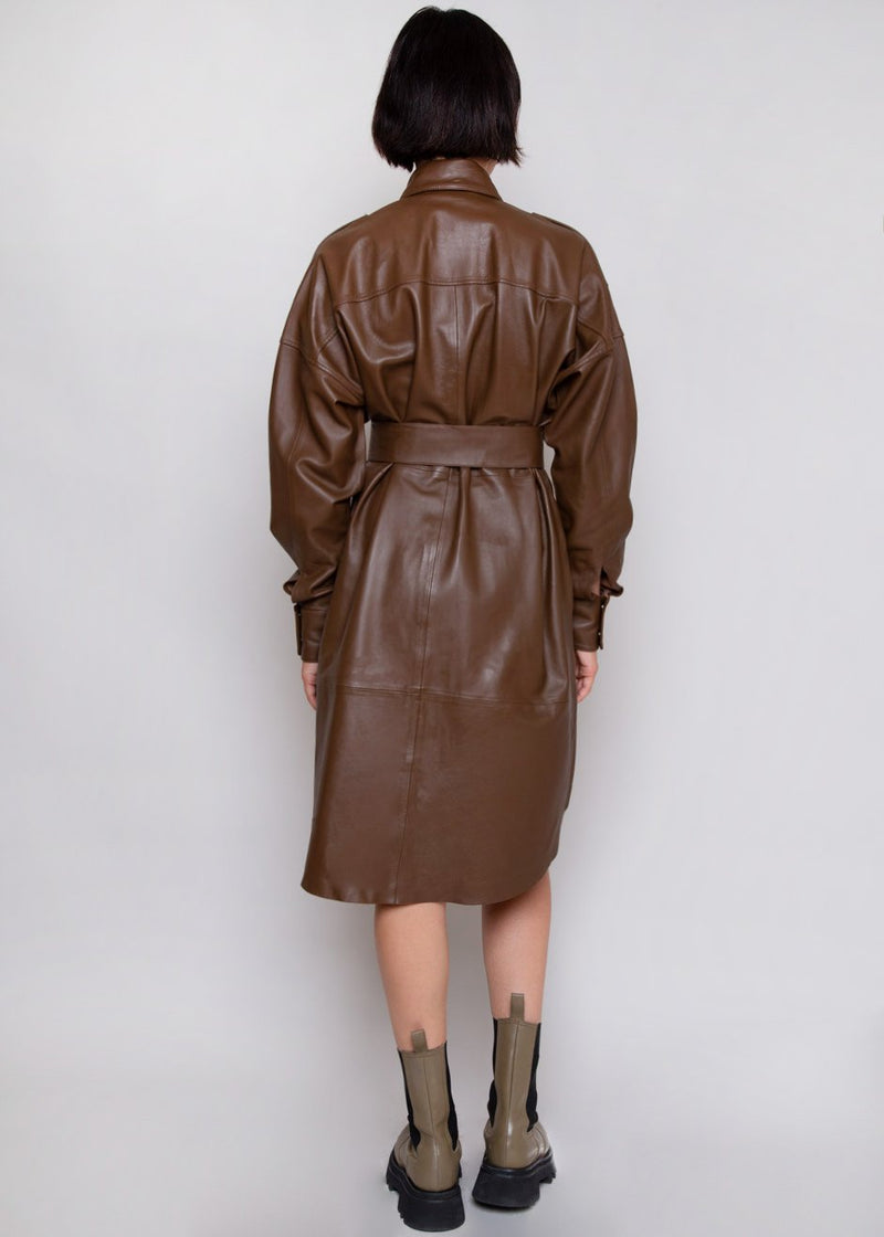 Lavare Leather Shirt Dress by Remain Birger Christensen in Bison Dress Remain