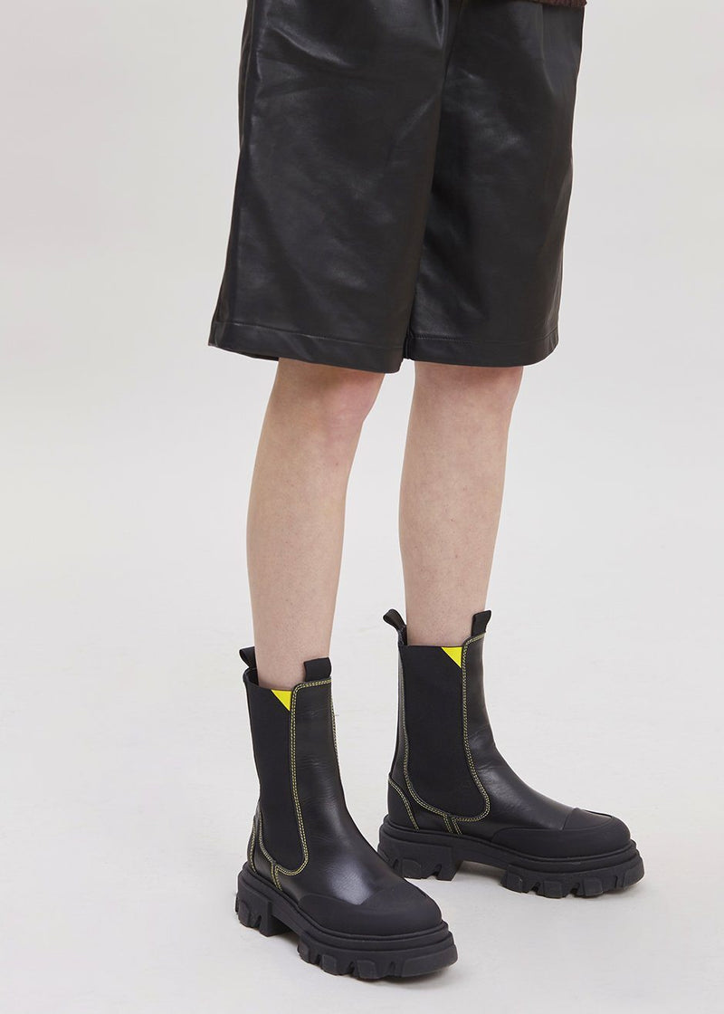 Leather Lug Sole Chelsea Boot by GANNI in Black boots Ganni