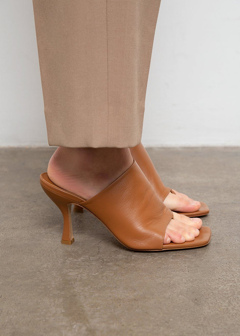 Leather Mule Sandals by GIA X Pernille Teisbaek- Brown shoes gia X Pernille Teisbaek