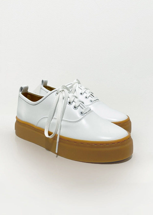 Leather Platform Sneakers in White Shoes L'art