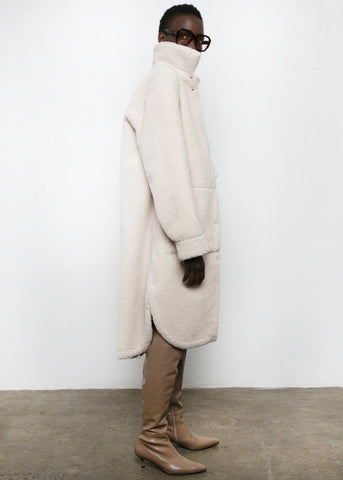 Leather Reversible Shearling Coat in Cream Coat Chakan