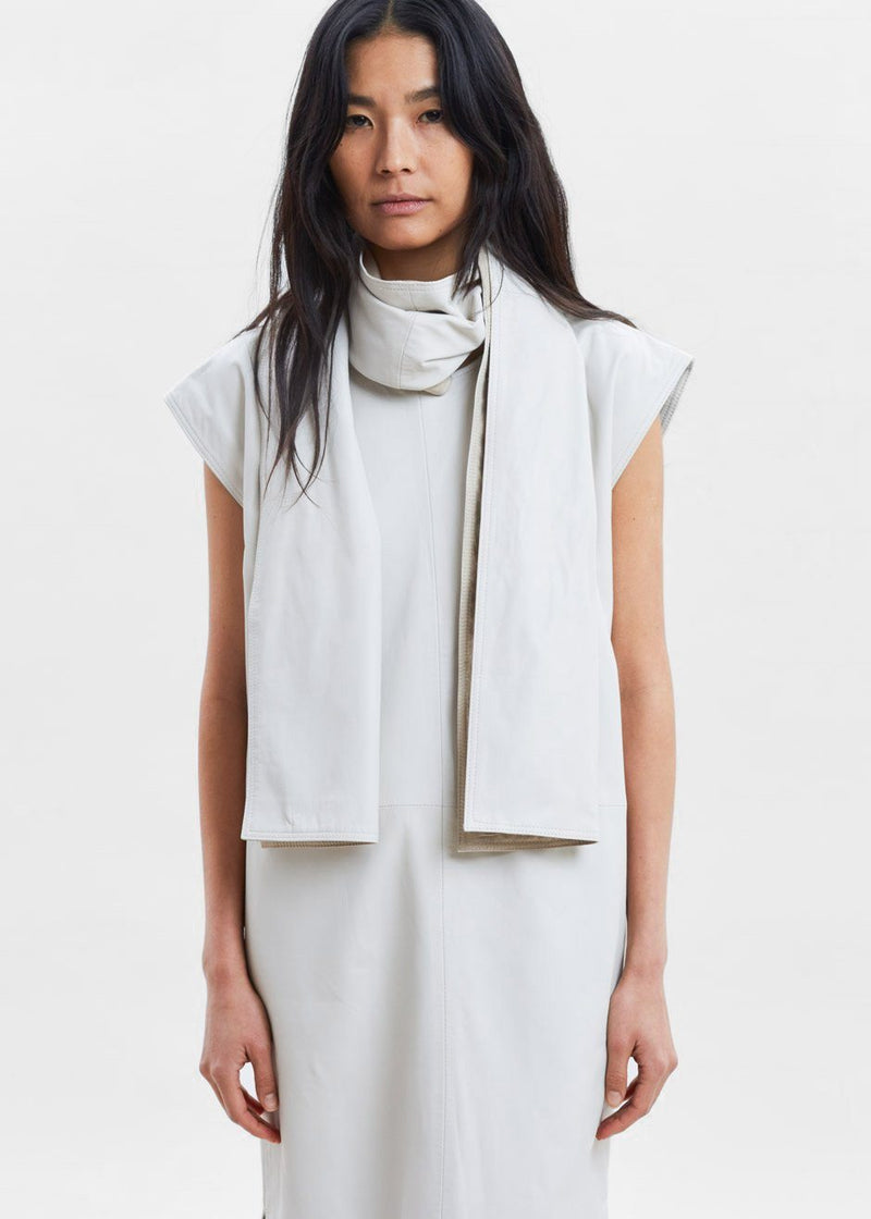 Lebuan Leather Scarf Dress by Loulou Studio in Ivory Dress Loulou Studio
