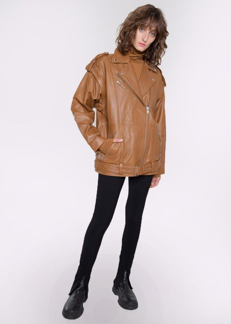 Lenda Detachable Sleeve Leather Jacket by Gestuz in Rubber Jacket Gestuz