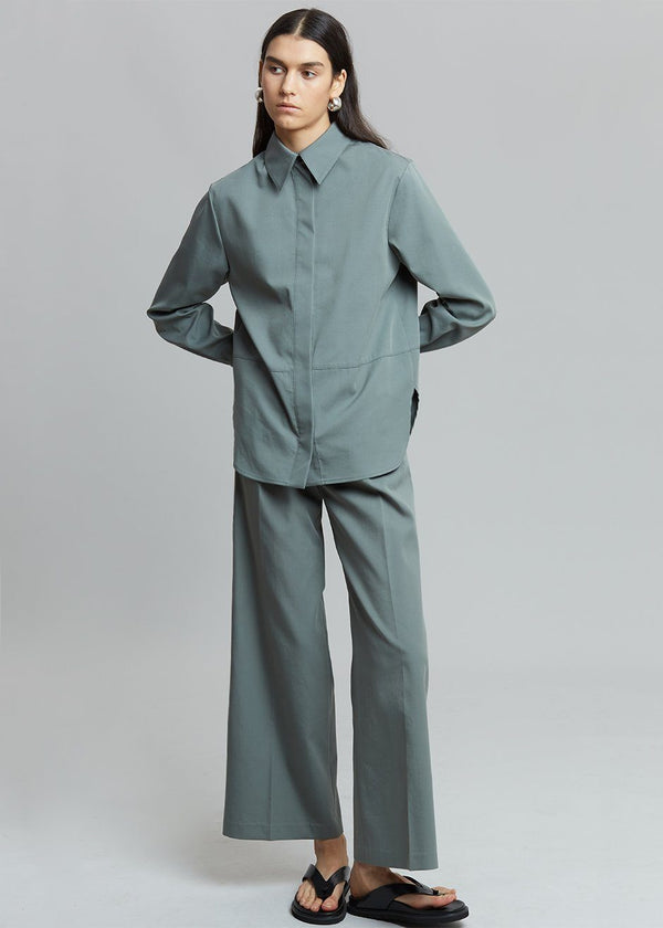 Liesl Utility Shirt in Agave Green Shirt The Frankie Shop