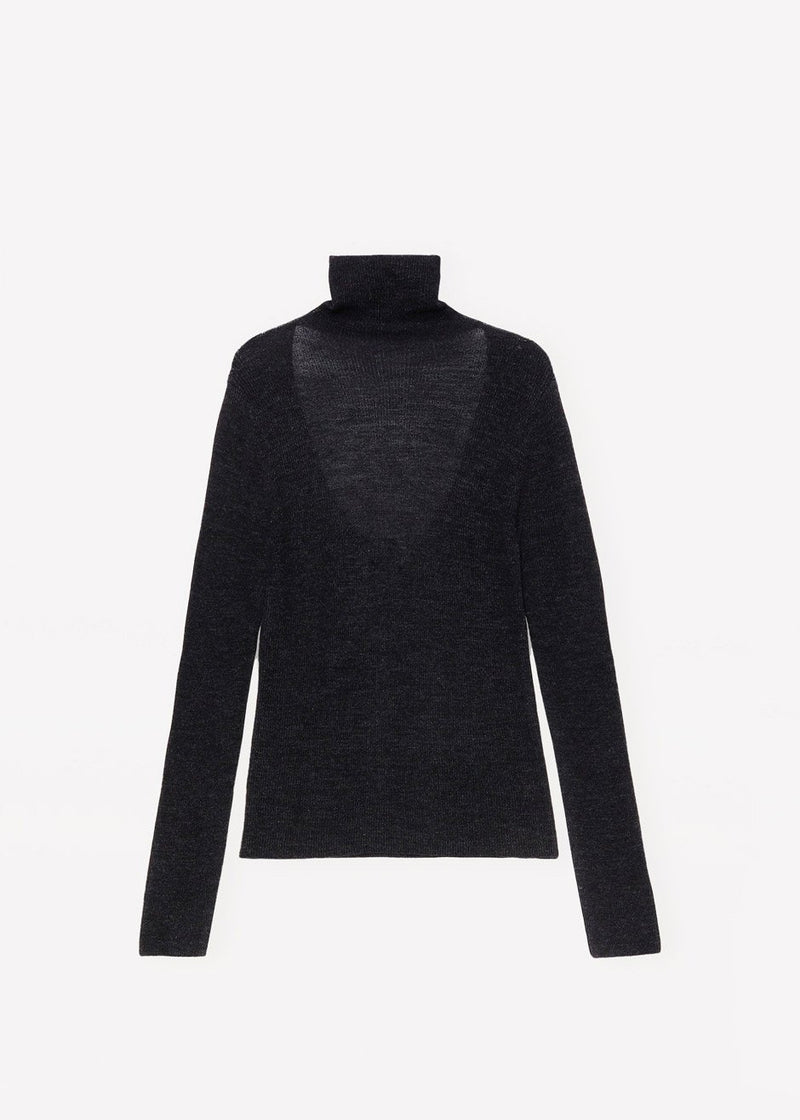 Light Merino Knit Rollneck by GANNI in Charcoal Top Ganni