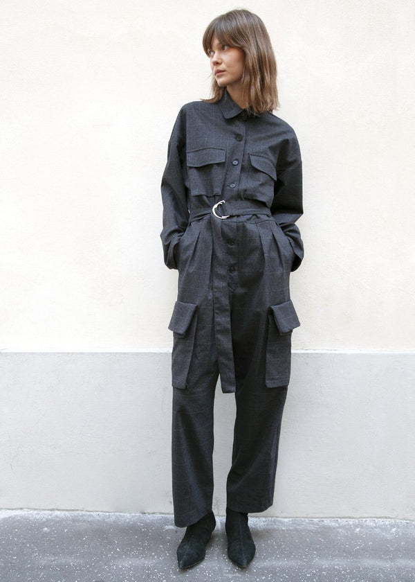 Linda Cargo Jumpsuit in Black Plaid Jumpsuit Frankie