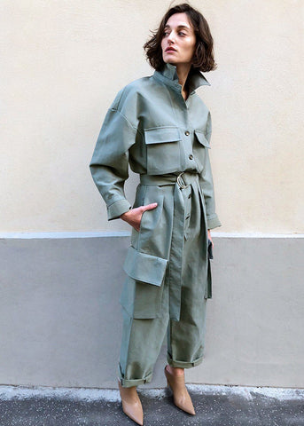 Linda Cargo Jumpsuit in Sage Green Jumpsuit Black Fuchsia