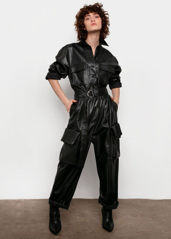 Linda Faux Leather Cargo Jumpsuit in Black Jumpsuit The Frankie Shop
