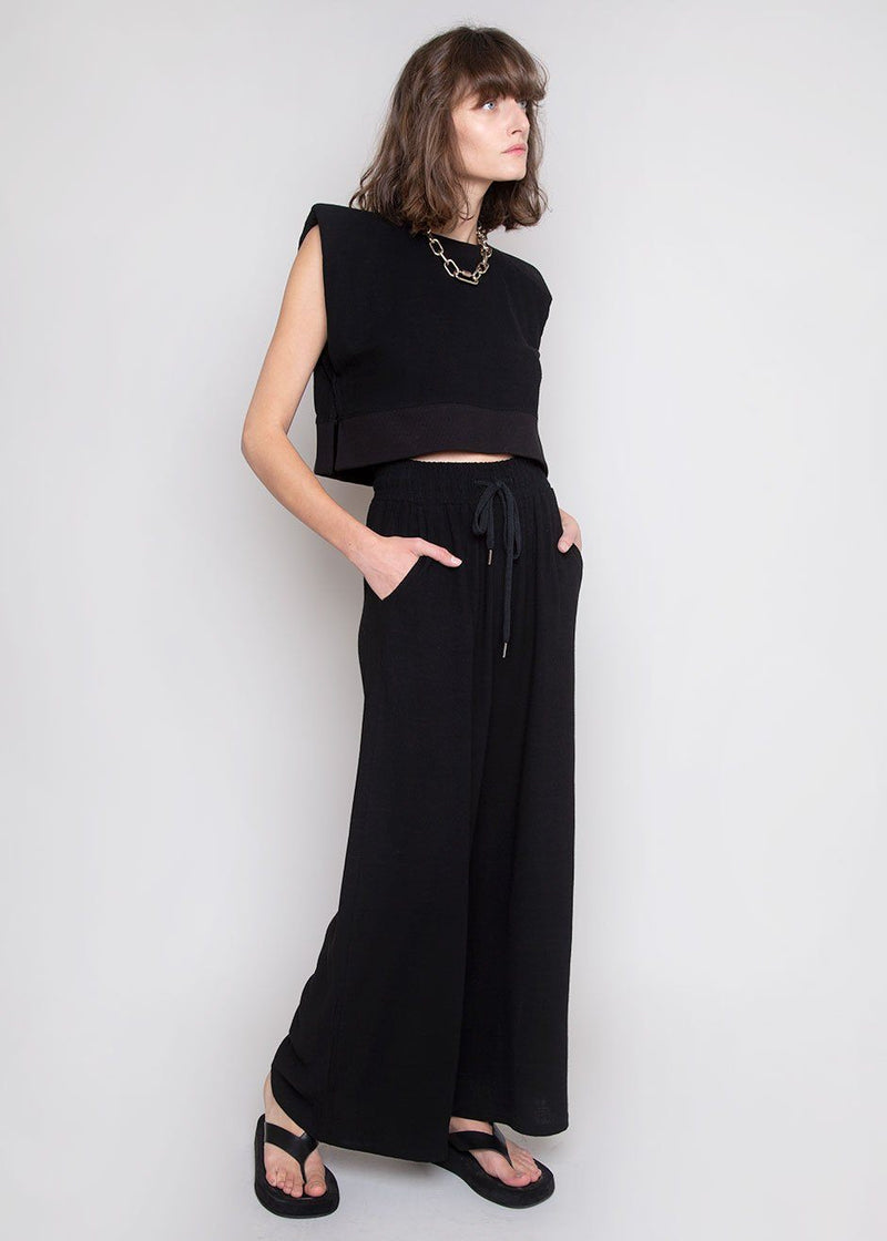 Linen Padded Shoulder Jogger Set in Black Set The Frankie Shop