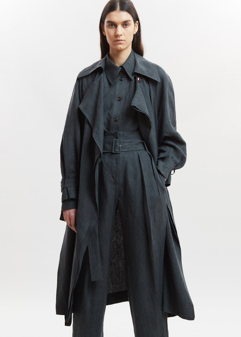Linen Trench Coat by Low Classic in Deep Green Coat Low Classic