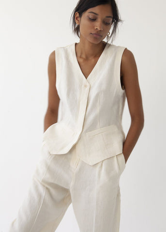 Linen Vest in Eggshell Vest More than Yesterday