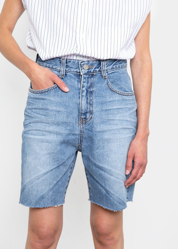 Long Cut-Off Shorts- Blue Denim Shorts The Frankie Shop