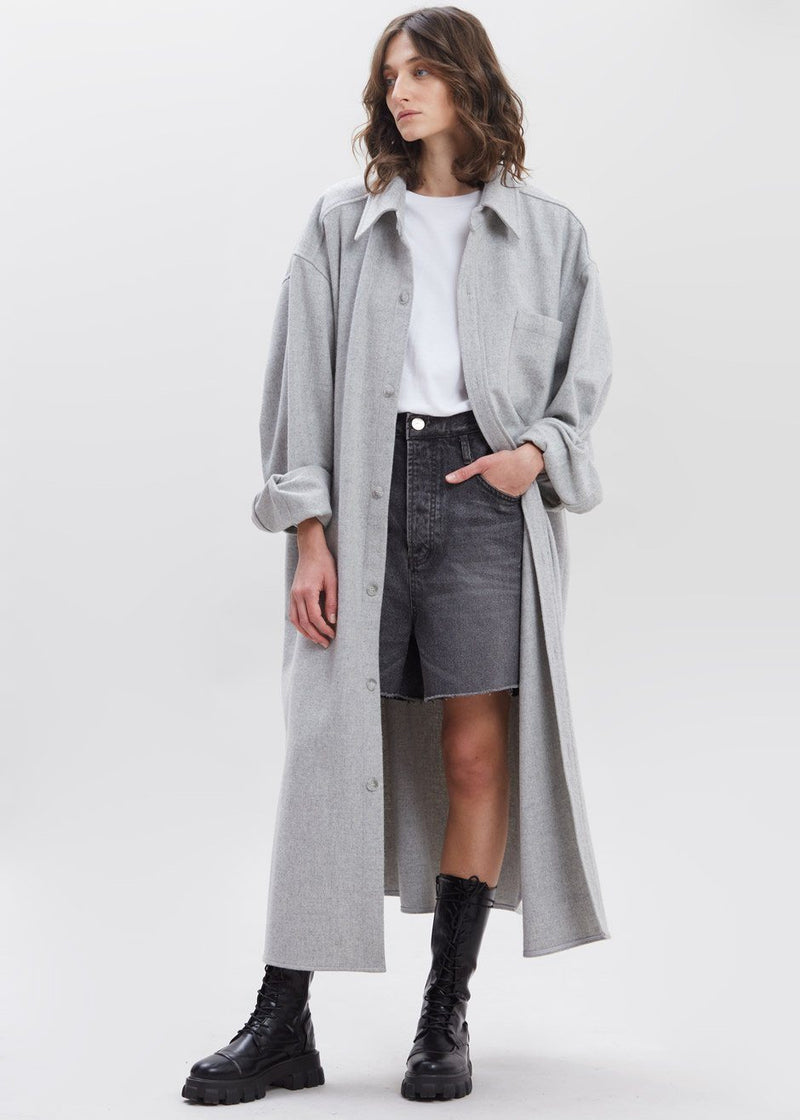Long Oversized Wool Shirt Dress in Light Grey Melange Dress The Frankie Shop