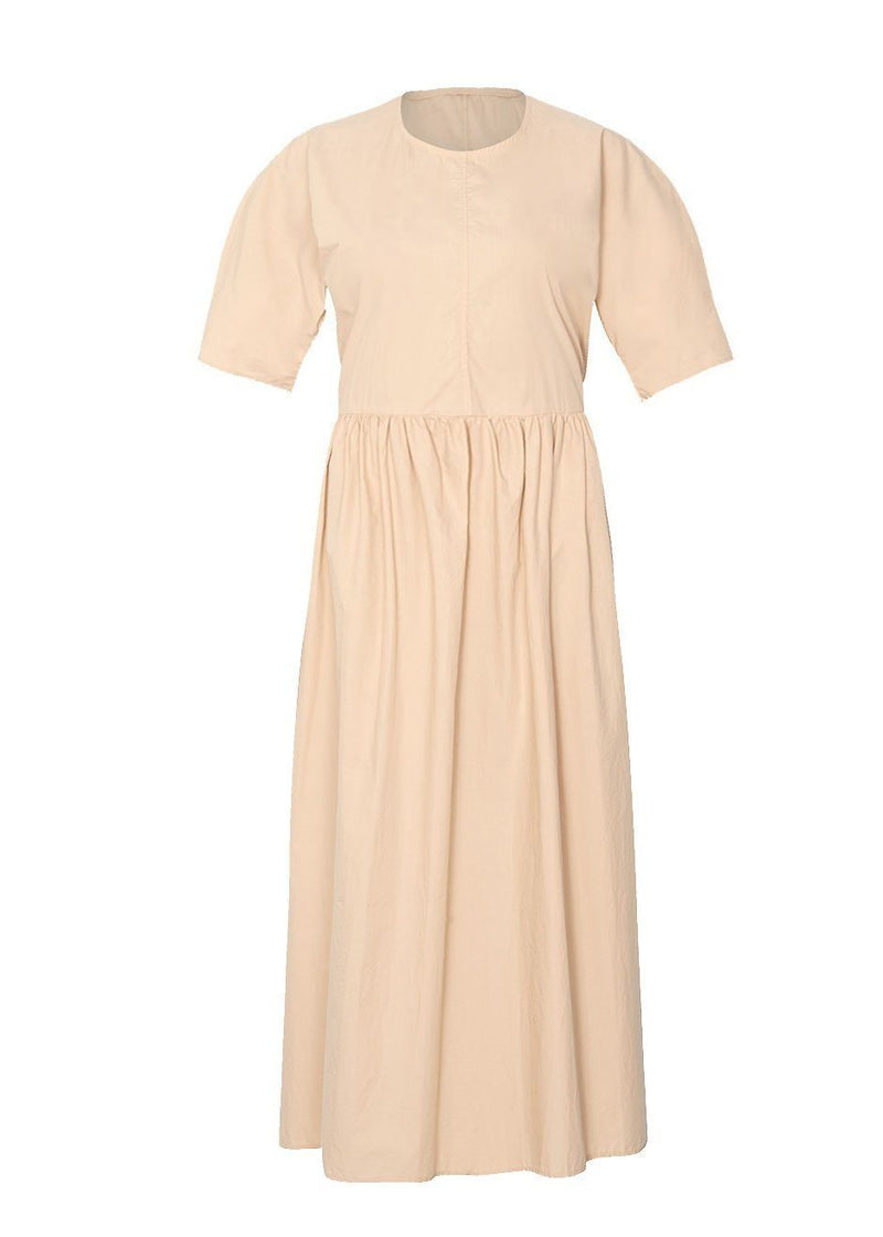 Long Poplin Dress in Almond Milk Dress Browns