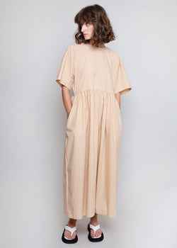 Long Poplin Dress in Beige Dress Browns
