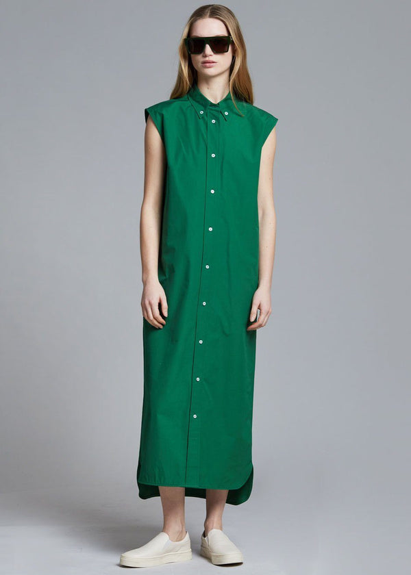 Loulou Studio Ukara Cotton Shirt Dress - Green Dress Loulou Studio