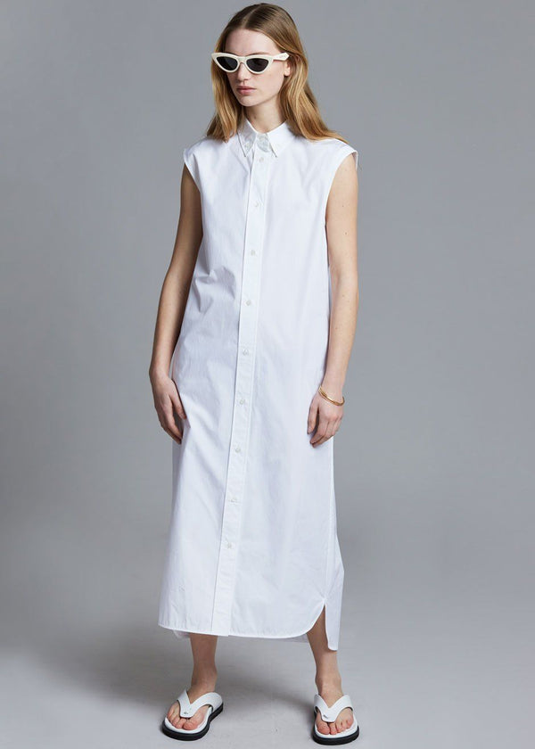 Loulou Studio Ukara Cotton Shirt Dress - White Dress Loulou Studio