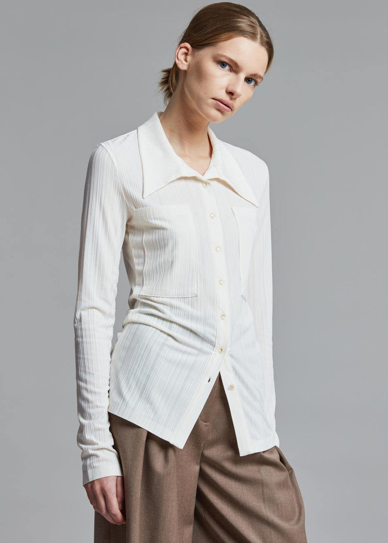 Low Classic Jersey Pocket Shirt in Ivory Top Low Classic