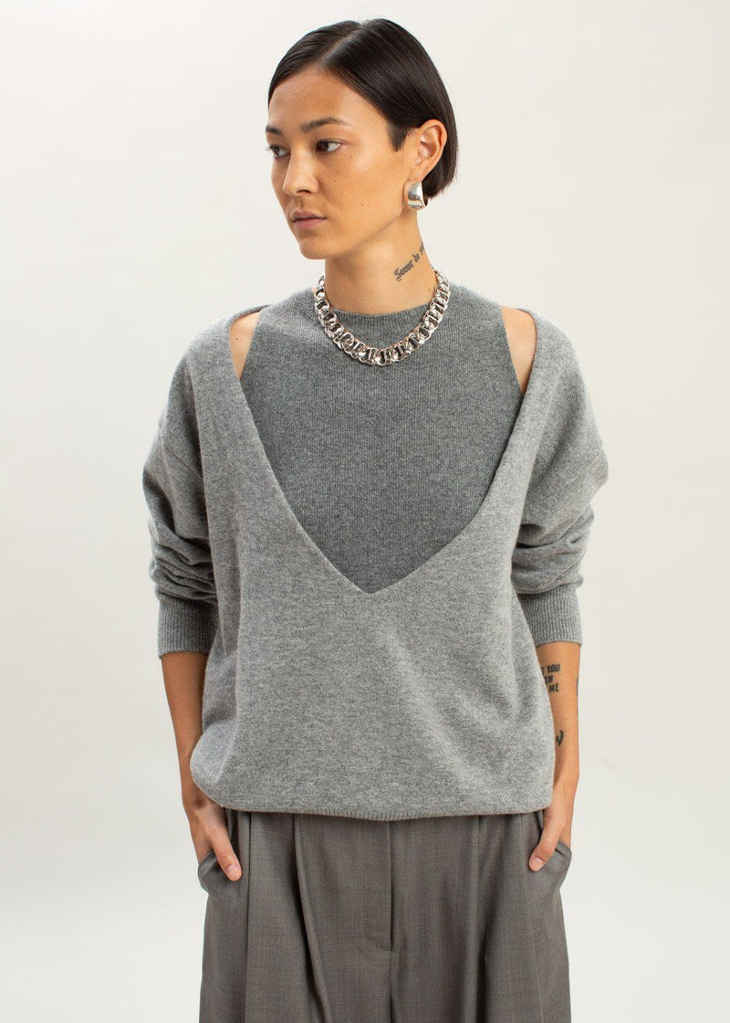 Low Deep V-Neck Boxy Sweater in Heather Grey Sweater The Frankie Shop