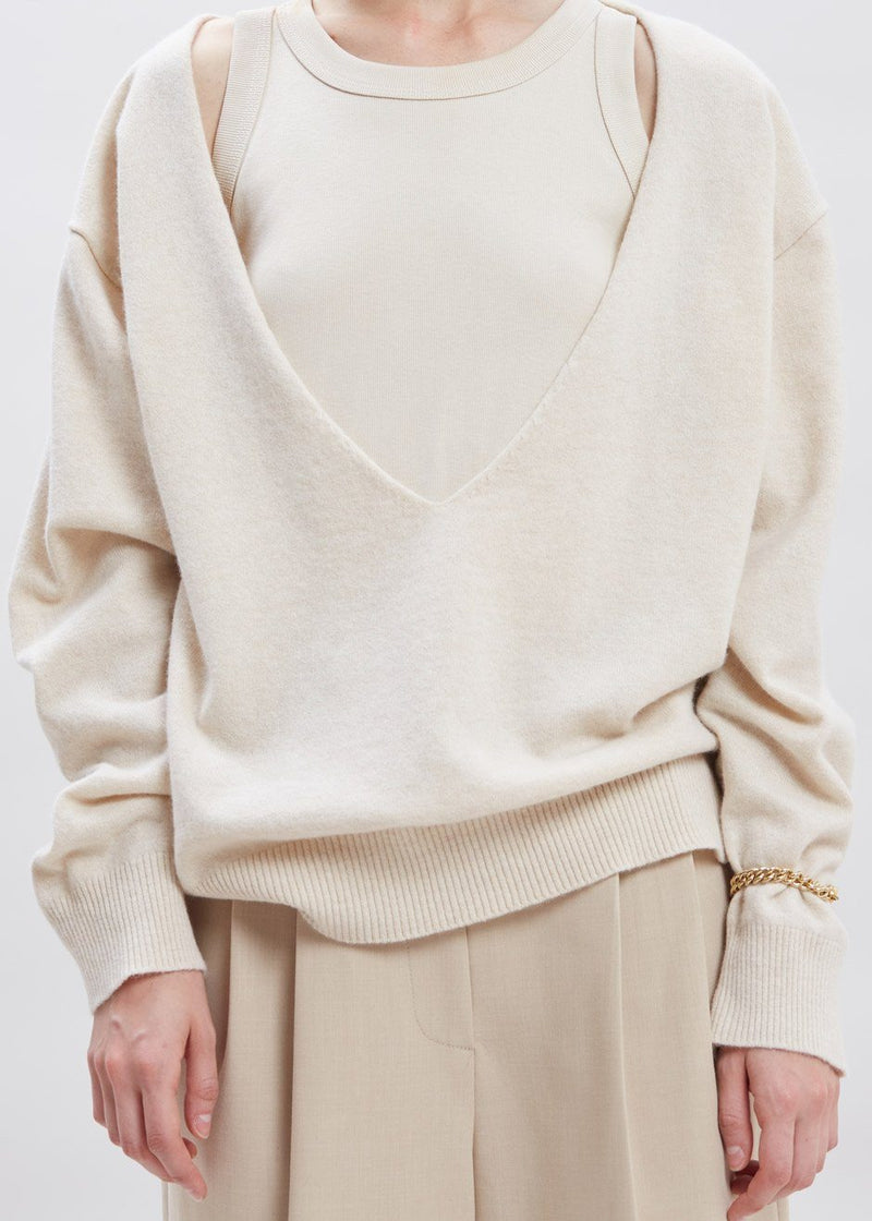 Low Deep V-Neck Boxy Sweater in Sesame Sweater The Frankie Shop