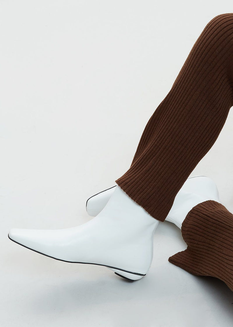 Low Heel Square Toe Ankle Boots in White shoes Mue