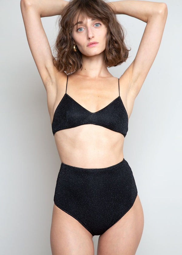 Lumière Lurex High Waisted Bikini Set by Oséree in Black swimsuit Oseree