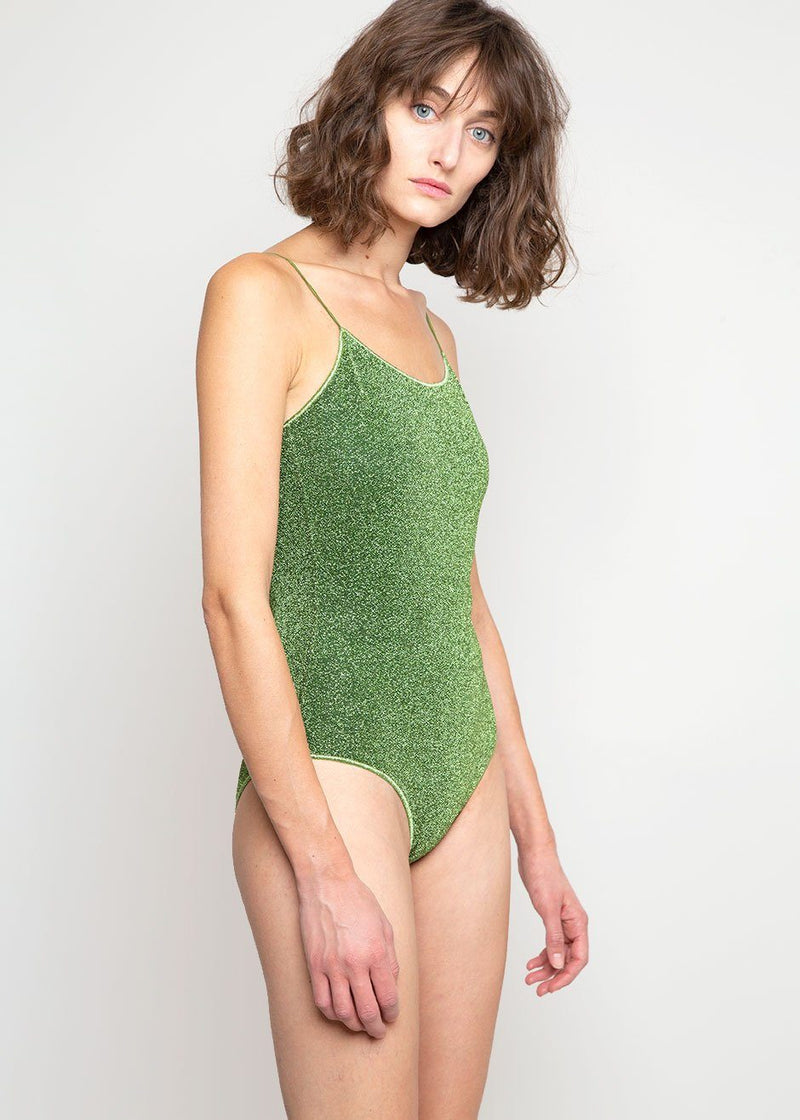 Lumière Lurex Swimsuit by Oséree in Green swimsuit Oseree