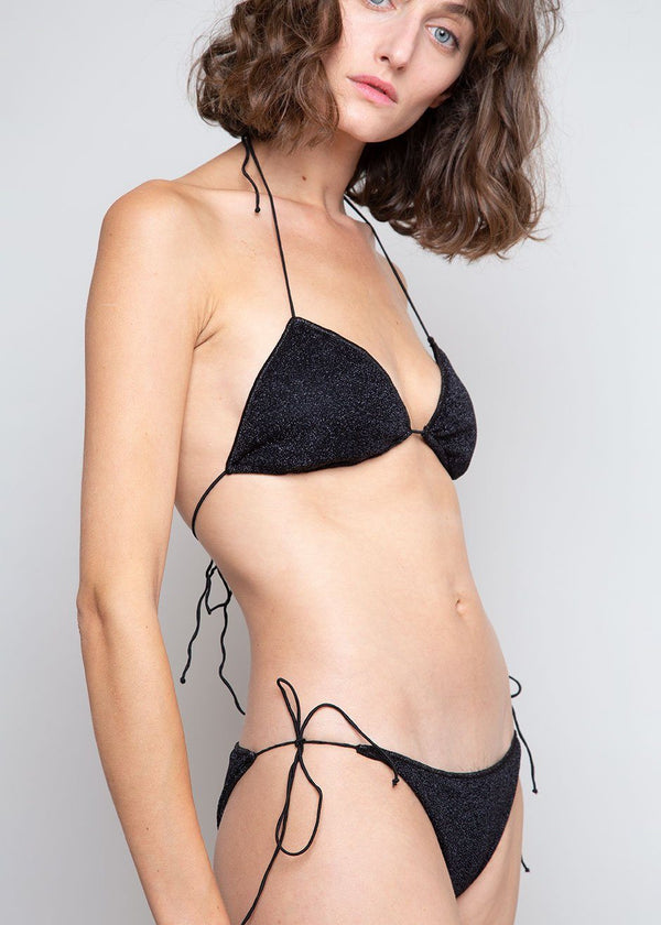 Lumière Lurex Triangle Bikini Set by Oséree in Black swimsuit Oseree