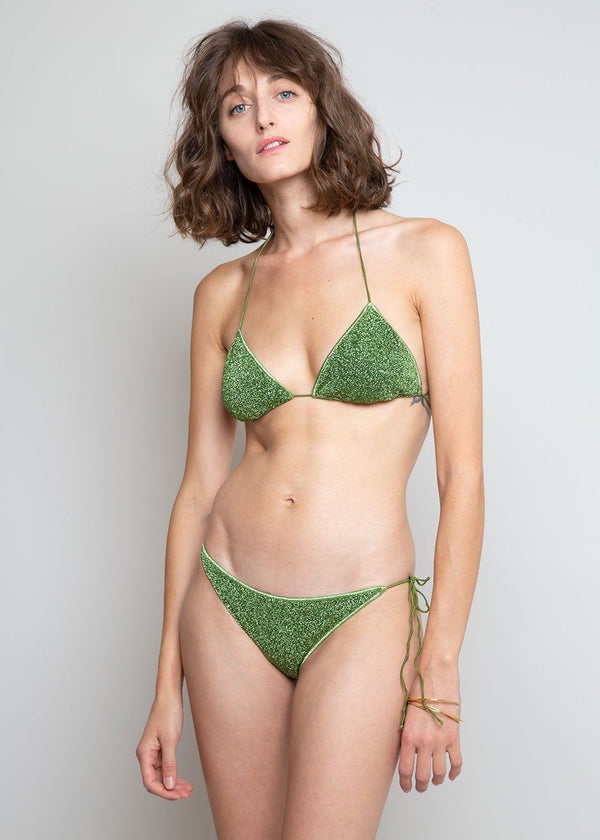 Lumière Lurex Triangle Bikini Set by Oséree in Green swimsuit Oseree
