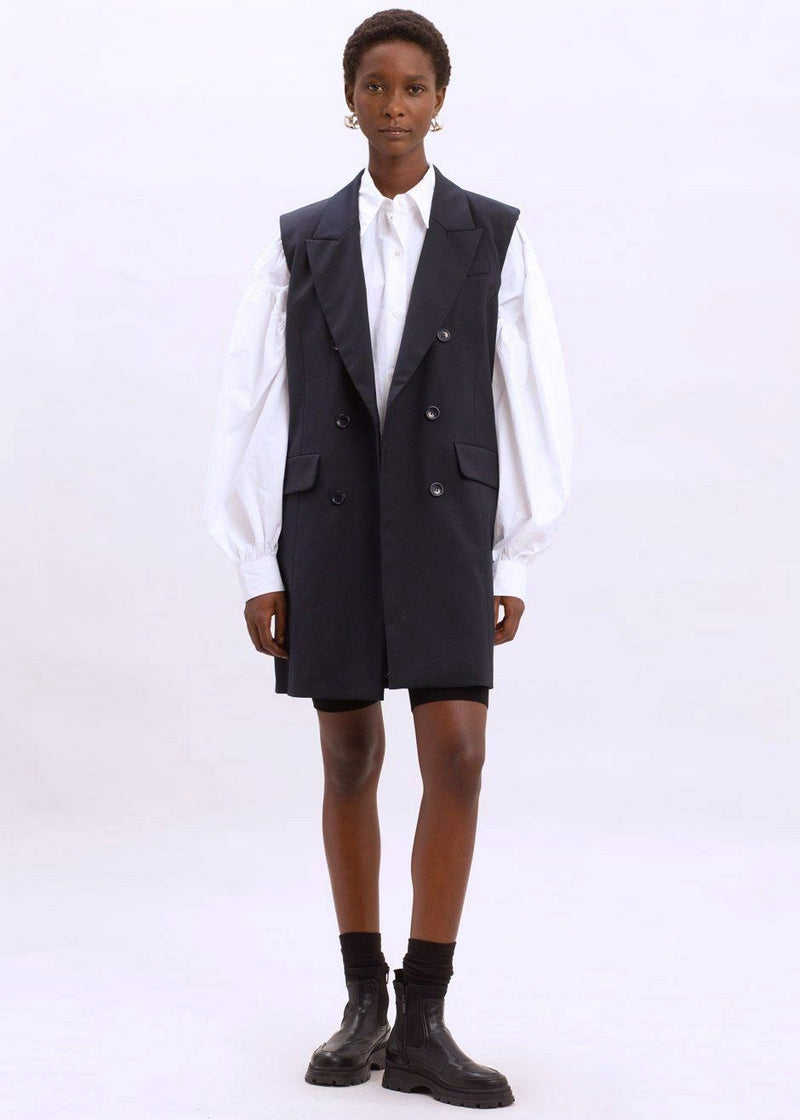 Magrethe Double Breasted Vest by Gestuz in Navy Vest Gestuz
