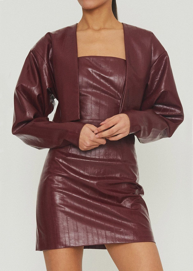 Magrit Vinyl Short Jacket by ROTATE in Zinfandel Jacket Rotate