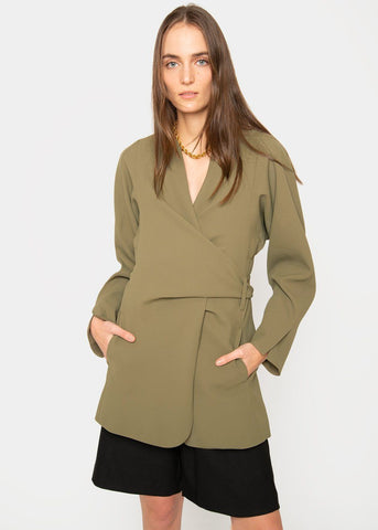 Magritte Wrap Blazer by Beaufille- Khaki Green Blazer beaufille