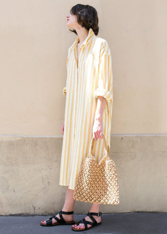 Marigold Striped Cotton Shirt Dress Dress Maran