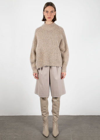 Marl Mock Neck Sweater in Oat Sweater Earl Grey People