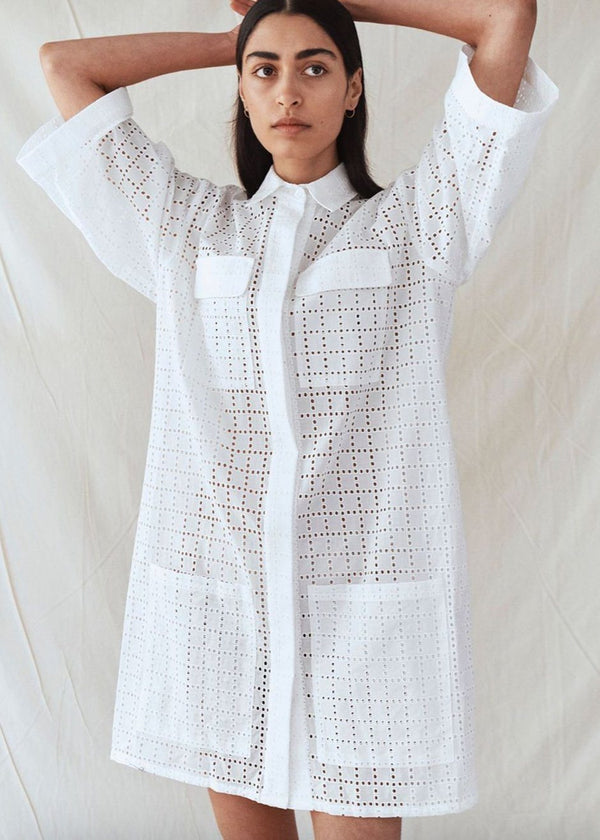 MATIN Eyelet Broderie Shirt Dress - White Dress MATIN
