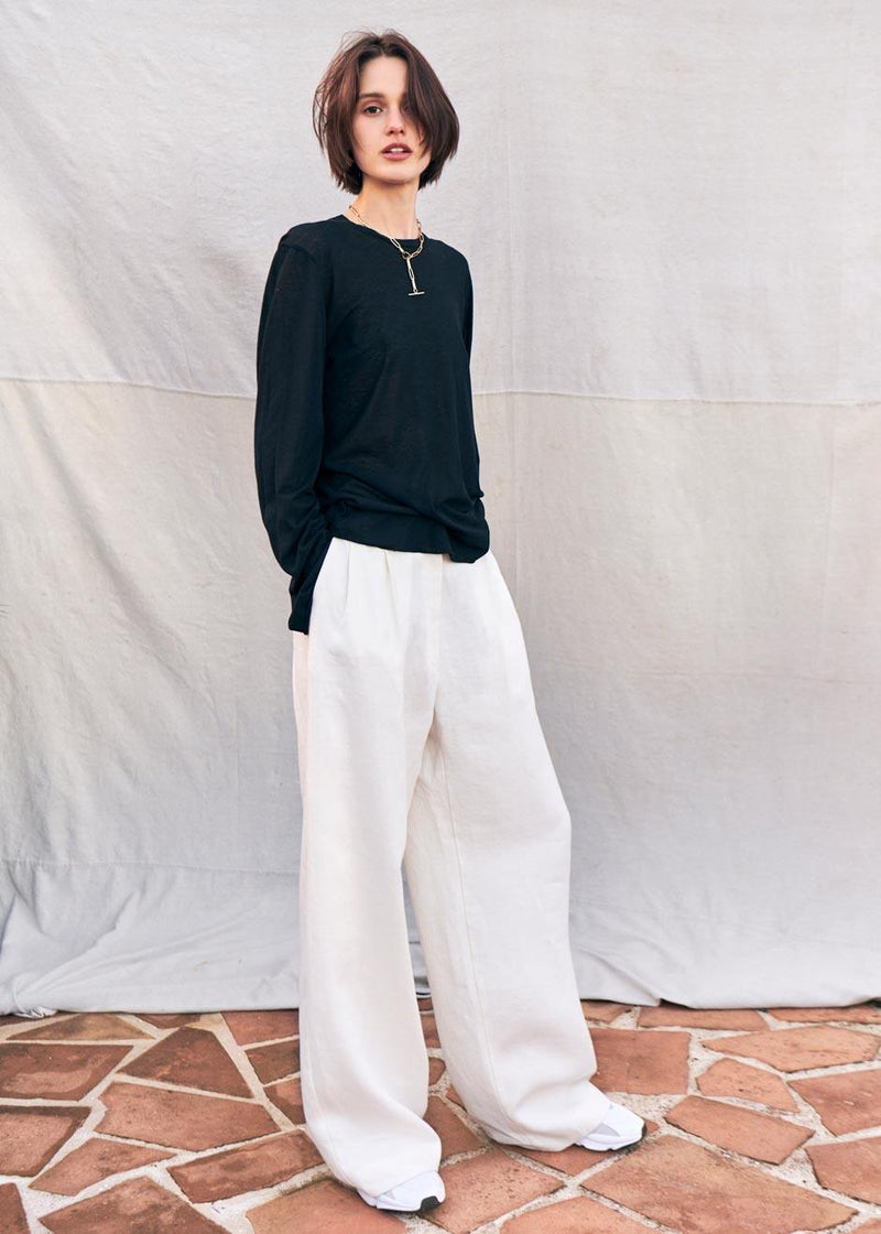 MATIN Wide Leg Linen Pants in White Pants MATIN