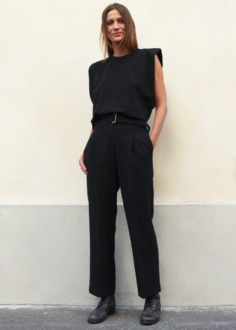 Midnight Navy Pleated Trousers with Silver Buckle Belt Pants Jelome