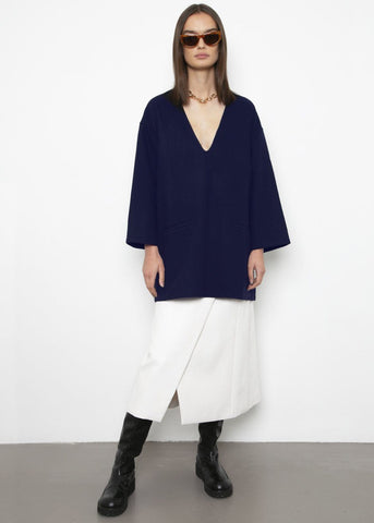 Midnight Navy Wool-Blend Tunic Dress Statement