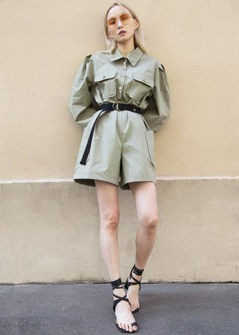 Military Green Utility Romper with Black Belt Jumpsuit Doreen