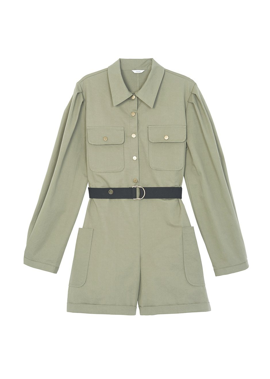 Military Green Utility Romper with Black Belt