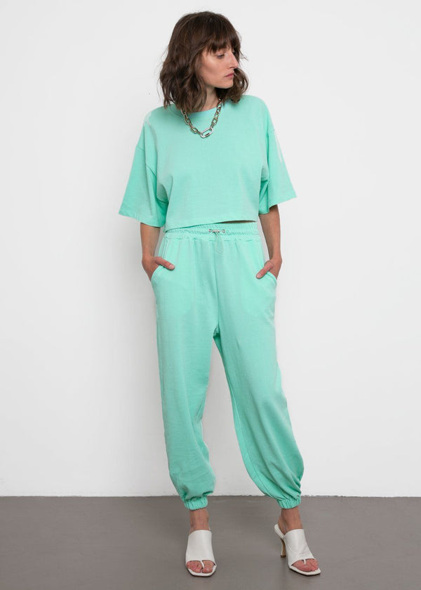 Mint Cropped Top and Jogger Set Set The Frankie Shop