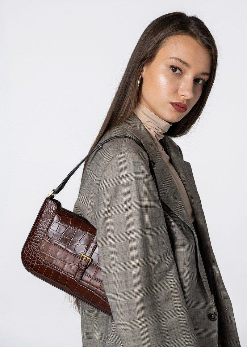Miranda Croc Embossed Leather Bag by BY FAR in Nutella Bags By Far