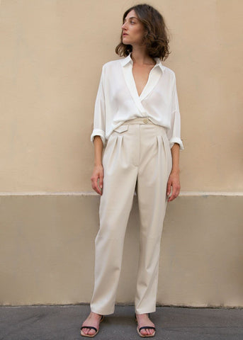 Mitsu Pleat Front Cigarette Pants in Creme Vegan Leather by Nanushka Pants Nanushka